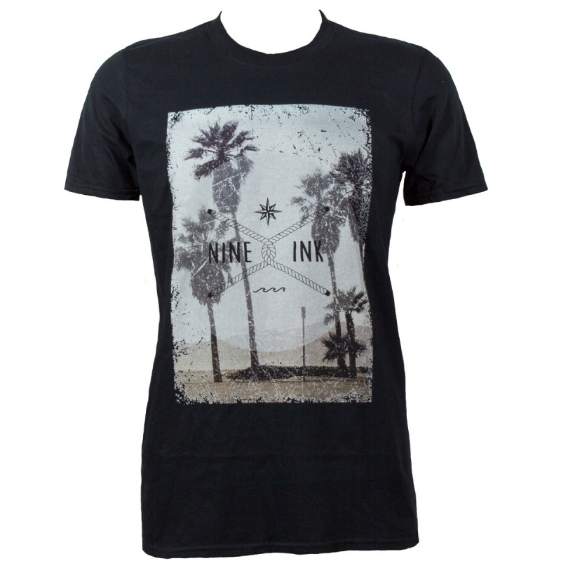 Tshirt noir homme Nine Ink Palm